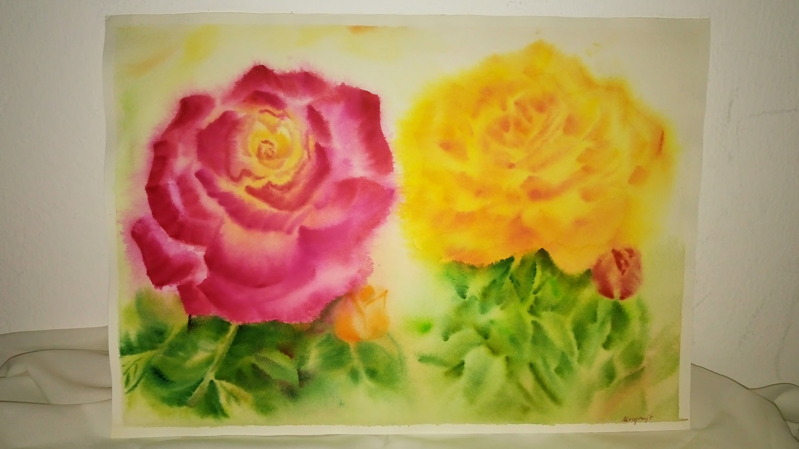 roses in watercolor