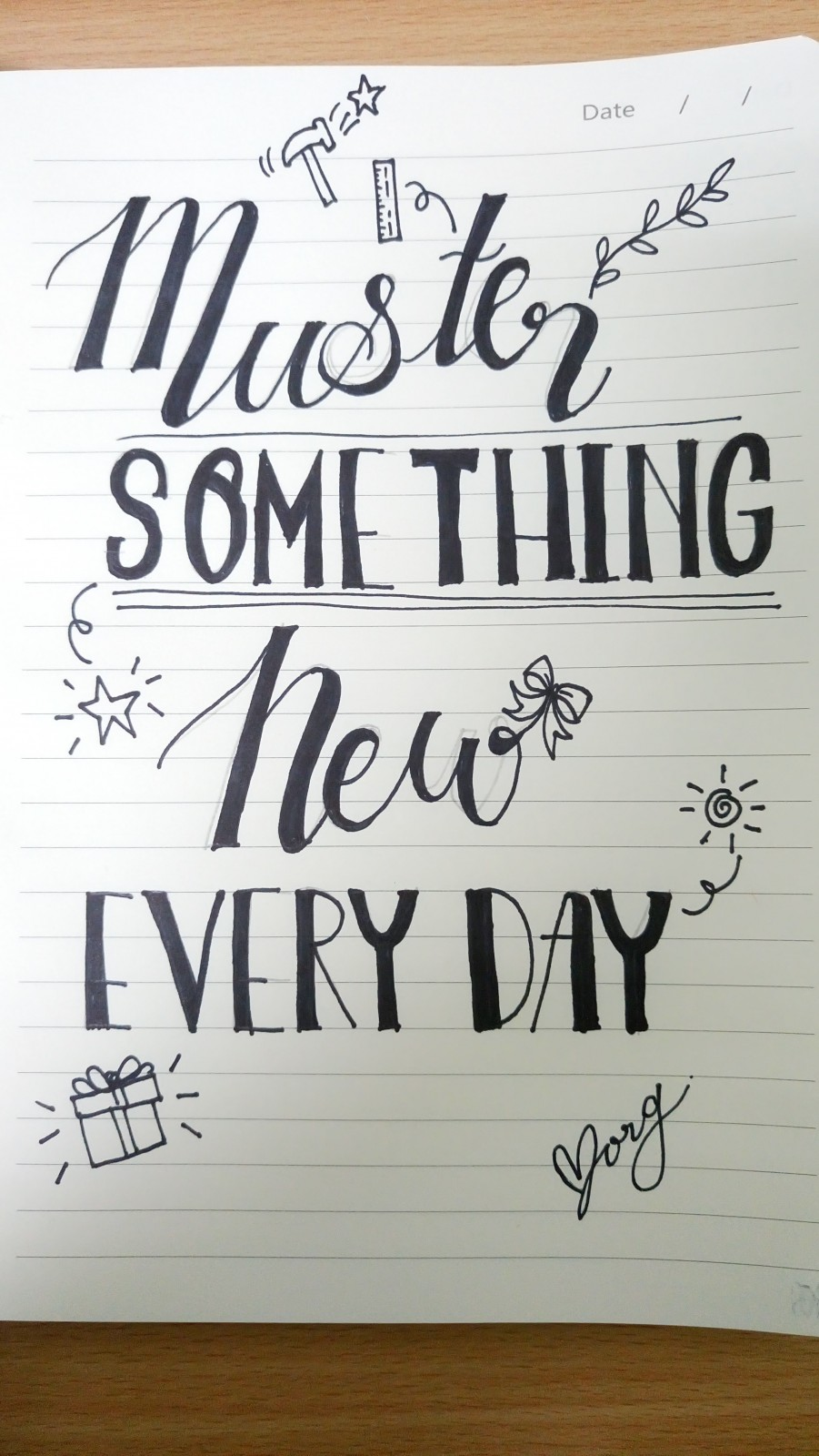 Hand lettering practice
