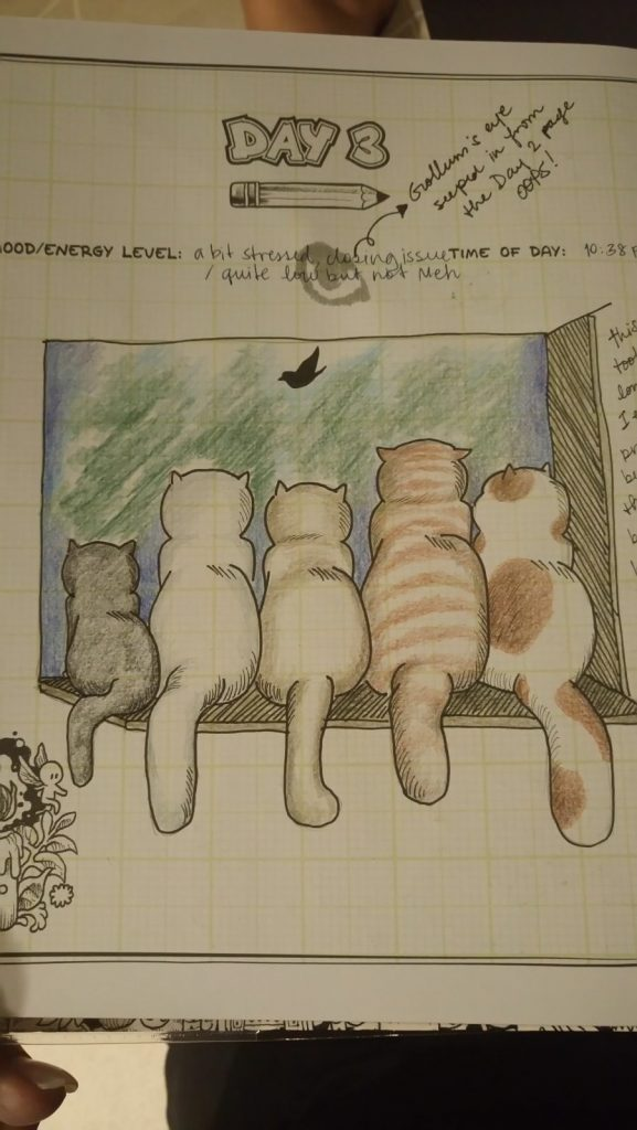 Another doodle of cats with color pencils by MorganJt