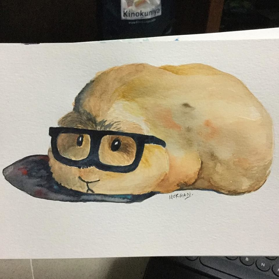 Time to go to work, guinea pig in watercolor by Morgan Jt