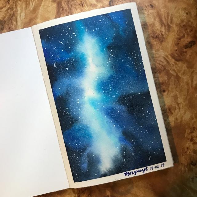 Watercolor galaxy blue