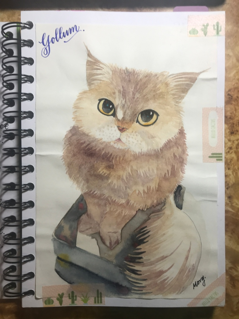 Gollum the cat, watercolor on Canson paper