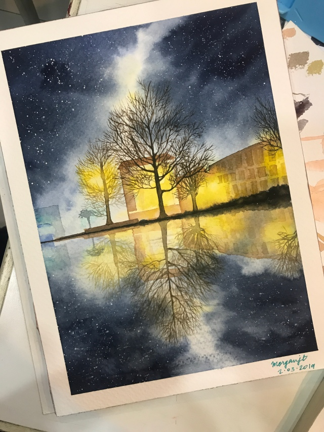 Night scenery in watercolor