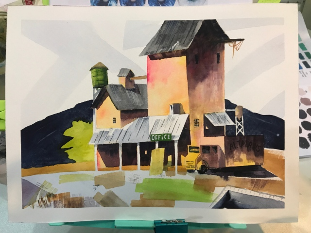 Flat brush practice in watercolor